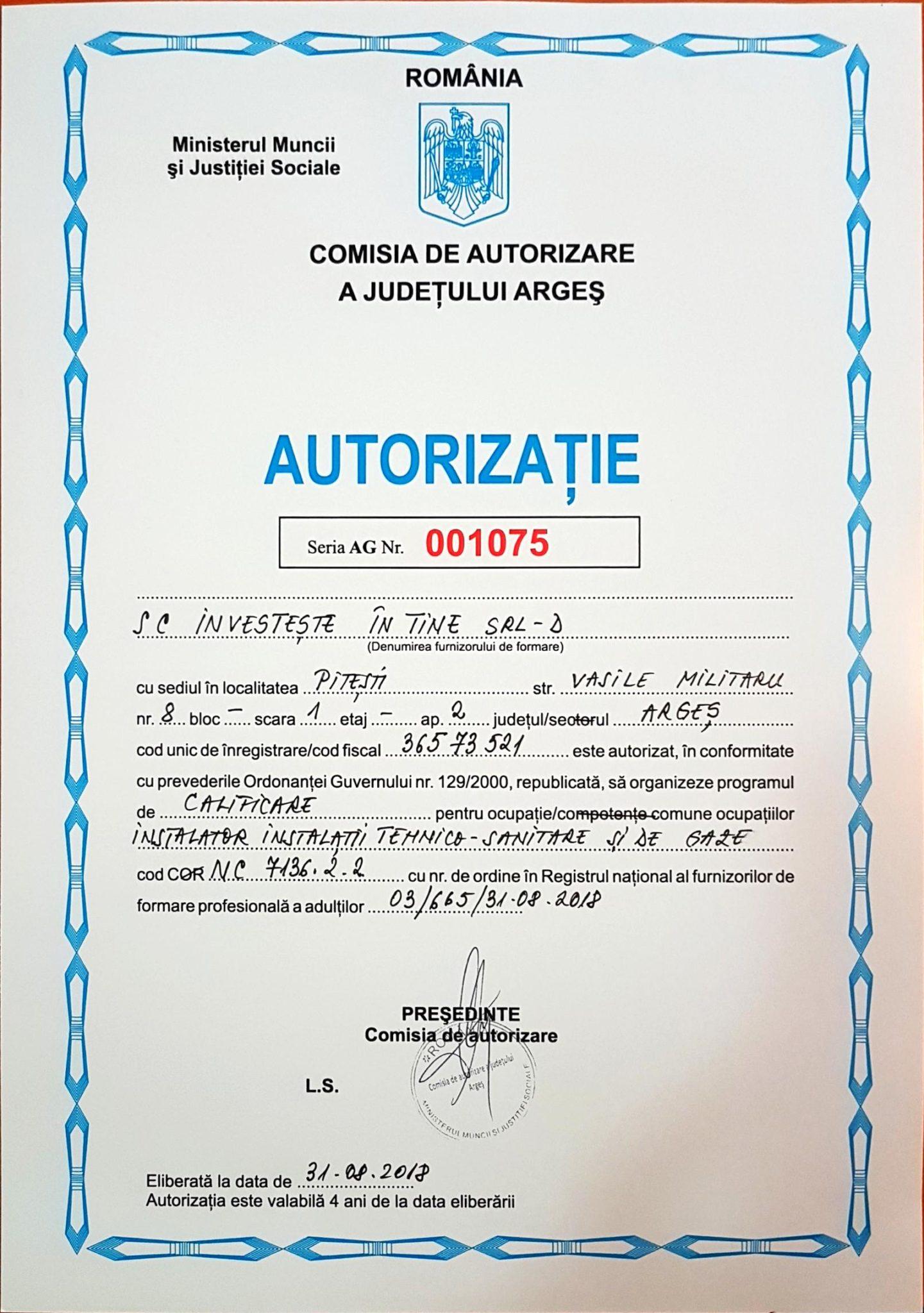 Autorizatie curs calificare instalator