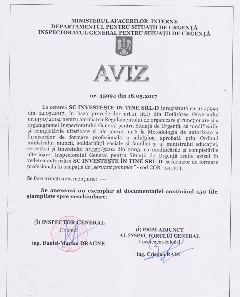 Firma curs servant pompier avizata IGSU Investeste in Tine SRL