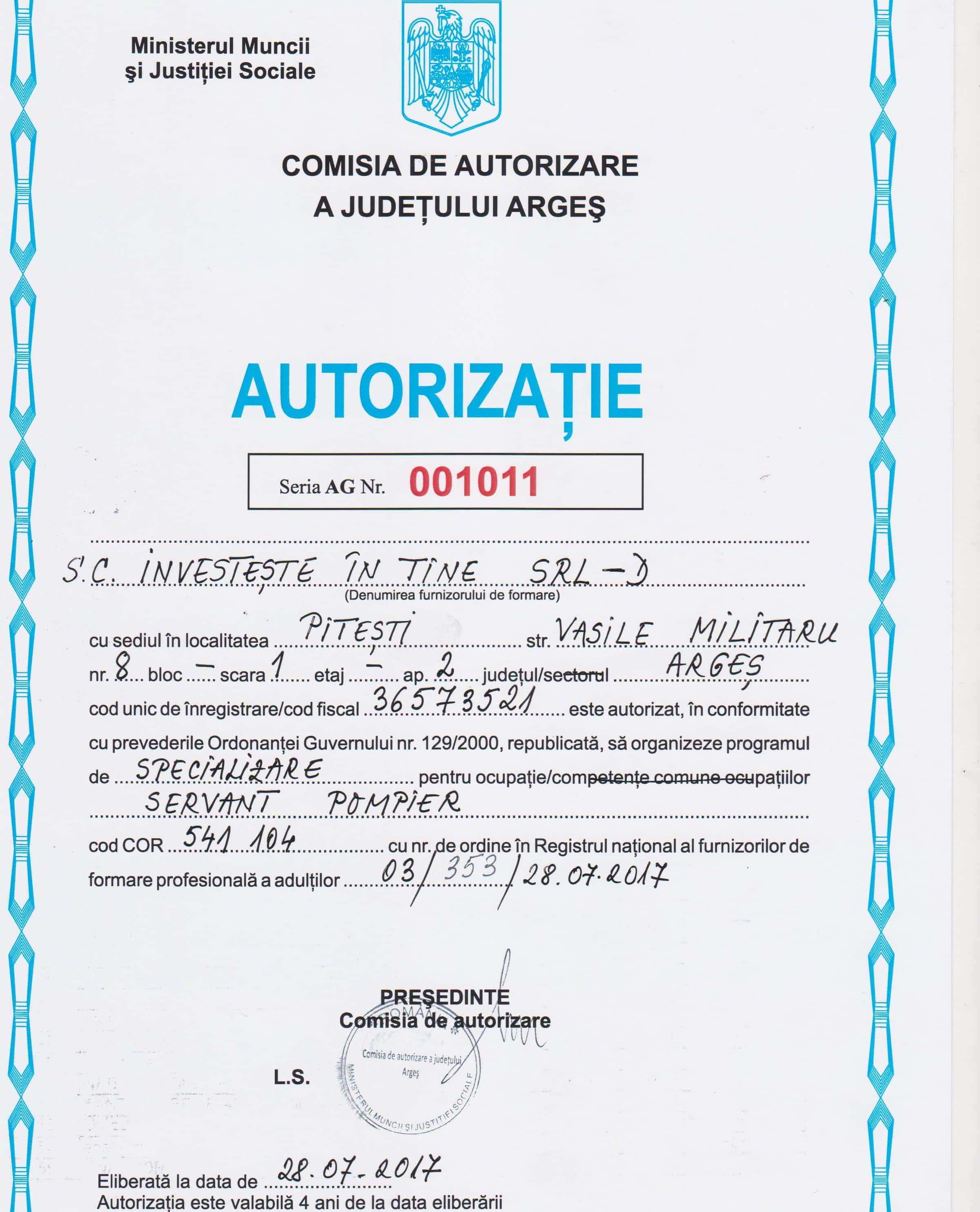 Firma autorizata curs SVSU Investeste in Tine SRL Pitesti